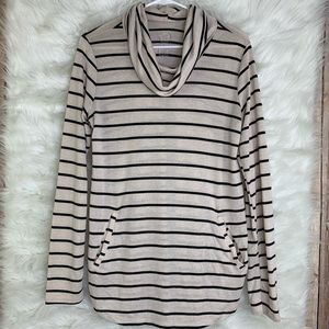 24/7 Maurices Beige Brown Striped Cowl Neck Shirt